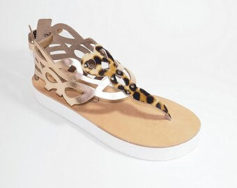 Greek Plateau leather sandals (38 - Gold)