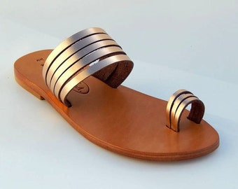 Greek Leather sandals (37, 38, 40 - Gold)