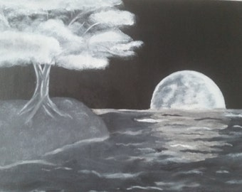 Magical Moonlight Shore Painting