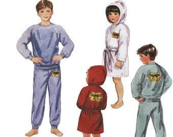 Pajamas For Kids, McCall's 4559 sz 12-12 UNCUT, Boys Pajamas, Boys Boxing Robe, Boys Bathrobe,Hooded Bathrobe,Boys Sweatshirt, Kids Bathrobe