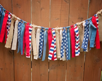 RED WHITE and BLUE Stars and Stripes,Fourth Of July Rag Tie Garland,Photo Prop,Americana Home Decor,Burlap, Jeans, Garland Banner,Country