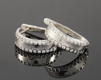Silver earrings, Women earrings, Hoop earrings, Silver hoop earrings, 925 silver earrings, Pretty earrings, Wide hoop earrings, CZ earrings