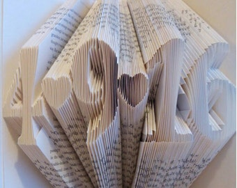 Folded Book Art - Anniversary Gift - 1st Wedding Anniversary - Wedding Present - Book Sculpture - Paper Folding Book - Personalized Gift