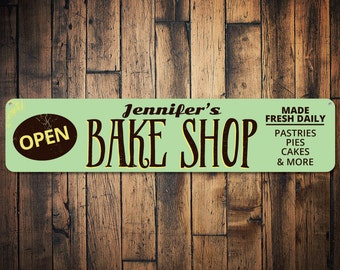 Bake Shop Open Sign, Personalized Bakery Store Name Sign, Custom Baker Made Fresh Daily Sign, Kitchen Decor - Quality Aluminum ENS1001597
