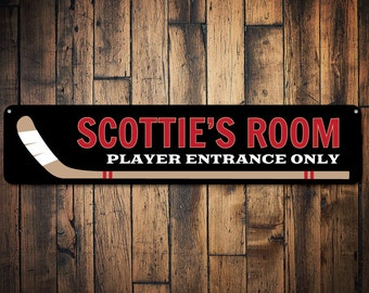 Hockey Sign, Personalized Kid Name Room Sign, Hockey Lover Player Entrance Only Sign, Hockey Stick Child Decor - Quality Aluminum ENS1002105