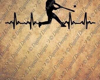 Baseball EKG Svg Png Dxf Eps Fcm Ai Cut file for Silhouette, Cricut, Scan n Cut Baseball Hitter svg EKG