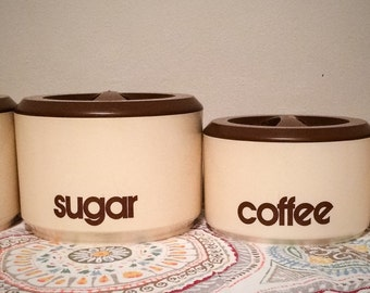 Vintage 1970's Plastic Sterlite Tan and Brown Labeled Kitchen Counter Canisters
