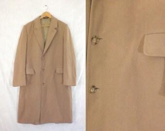 60%OFF Aug26-29 mens wool overcoat size 44L, mens large, camel brown, long coat, 1970s, london fog, mad men, mens coat, wool coat