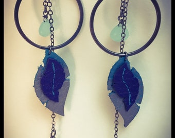 Silver & Recycled Leather Earrings