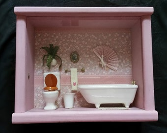 Doll house Miniature Painted Pink Shadowbox  Vintage Bathroom Scene