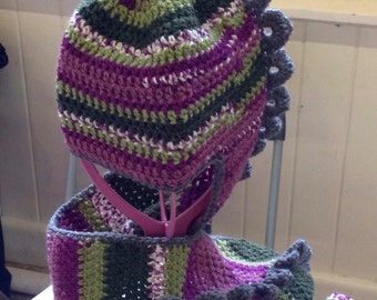 Handmade crochet Dragon hat with scarf children adult