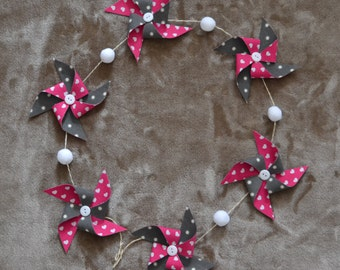 Garland of windmills in cotton fuchsia, grey and white