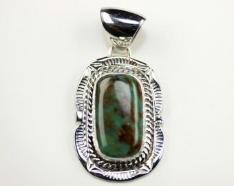 Native American Navajo Sterling Silver Green Turquoise Pendant By C. Yazzie