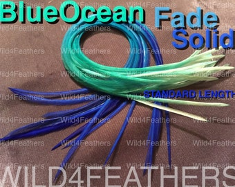 "4pc BlueOcean Fade Solid Feathers + 1pc Classic Grizzly Feathers in Standard Lengths:8""-9.6""inches/ 20-24cm,AustSLr"