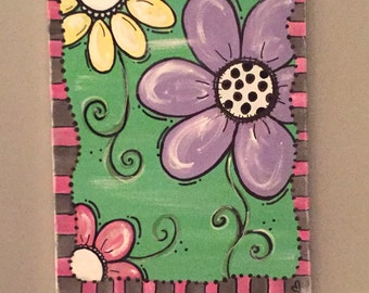 Fun Flower Painted Canvas
