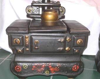 """Vintage McCoy Cookie Jar,"""" Wood Stove"""""""