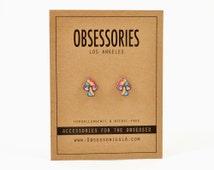 Psychedelic Mushroom Earring Stud Earring Post Rainbow Mushroom Jewelry Mushroom Accessories Shroom 70s Hippie 90s Grunge Mushroom Gift Idea