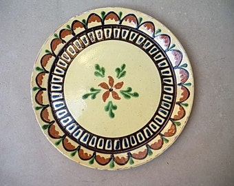 Enormous french antique plate pottery SAVOIE/flower design/ 1900's/1910's