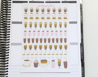Coffee Cappuccino Planner Stickers Erin Condren Coffee Planner Stickers Plum Paper Planner Coffee Stickers
