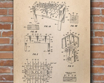 Table Soccer Patent Print, Game Room Decor, Soccer Poster, Patent Print - DA0505