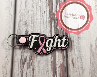 Fight Key Chain, Breast Cancer awareness key chain, key fob, snap