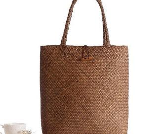 Summer Tote Woven Bag Shoulder Bag Pastoral Straw Beach Bag Handbags