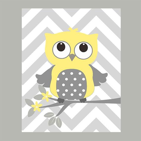 Items similar to Nursery Wall Print, Owl Print, Gray ...