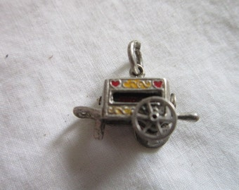 Vintage Sterling Silver RARE Love Spinner Hurdy Gurdy You, only you, and you again Mechanical Charm