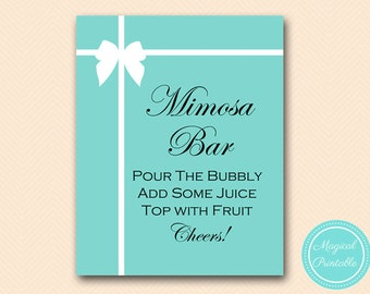 Mimosa bar sign, bubbly bar sign, drink sign, instant download, Aqua Bridal Shower Sign, baby Shower Sign BS72, BS54