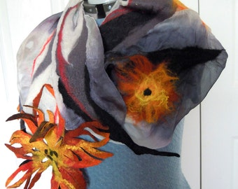 Silk - wool, airy, extravagant, long scarf. Nuno felted superfine merino wool, natural silk scarf. Orange, yellow, white, gray, black.