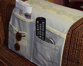 Denim sofa organizer, Remote control organizer, Fabric remote Caddy, Armchair Remote Caddy, family gift