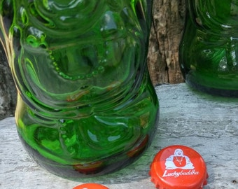 2 Lucky Buddha Beer bottles with caps