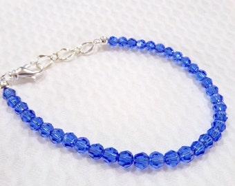 Swarovski Crystal Bracelet - Sapphire 4mm