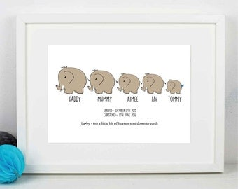 Family of Elephants Print