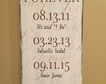"""Hand Painted """"Forever"""" Family Sign • Country•Rustic Distressed•Personalized•Wall Art•Shelf•Wedding•Anniversary•Home Decor Established"""