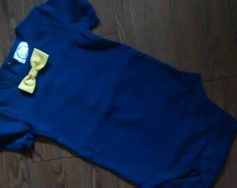 Navy Blue Bow Tie Onsie set