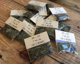 PACK OF 50, 'Love is brewing' tea wedding favour