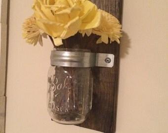 Wood Mason Jar Wall Decor -- Flower vase / candle holders