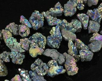 Titanium Rainbow Druzy Agate Geode Beads Quartz Druzy Nugget Beads Titanium Druzy Drusy Geode Beads Freeform Graduated Supplies DN00