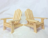 Set of 2 mini Adirondack chairs, unfinished / DIY wooden wedding cake toppers