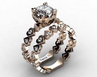 Soulmate 14K Rose Gold 1.0 Ct White Sapphire Diamond Engagement Ring Wedding Band Bridal Set R1043S-14KRGDWS