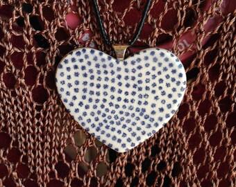 Blue and White Ceramic Heart Shaped Flower Pendant