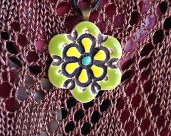 Flower shaped Ceramic Pendant
