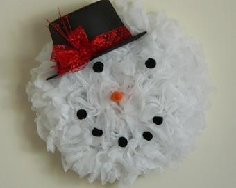 Snowman wreath, Christmas wreath, Front door wreath, Gift for her, Gift 40 and under, Housewarming wreath, Welcome wreath, Wedding gift