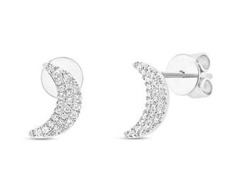 Feminine Pave Diamond Solid Gold Crescent Moon Earrings, 0.11ct 14k White Gold Crescent Moon Stud Earring