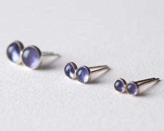 Iolite earrings, sterling silver stud earrings, true indigo Iolite cabochon, True self & Independence