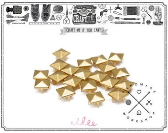100PCS 8MM Gold PYRAMID studs Glam rock Biker NAILHEADS Leathercraft.