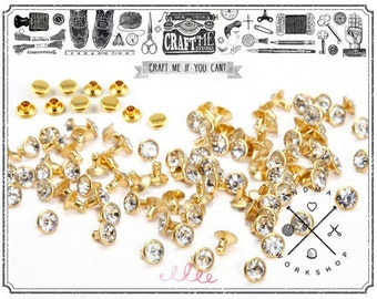 100pcs 7mm CZECH CRYSTAL on GOLD Synthetic Rhinestone rivets Diamond. Riveting Supplies.