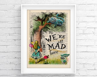 Vintage Illustration Print Decorative Art Book Page Upcycled Page Print - Alice In Wonderland Wall decor Retro Poster Vintage Book print 051