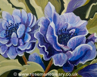 Original Miniature Acrylic Painting Art Card ACEO of Flowers Purple Blue Anemone